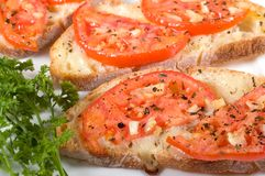 Bruschetta on white plate. At shallow depth of field Stock Photo