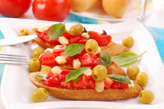 Bruschetta on white plate Stock Photography