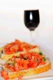 Bruschetta and wine Stock Image