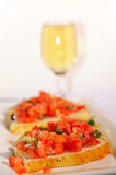 Bruschetta and wine Royalty Free Stock Photography