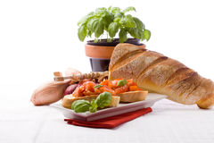 Bruschetta With Ingredients Stock Images
