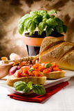 Bruschetta With Ingredients Stock Photography