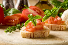 Bruschetta With Tomatoes And Basil Royalty Free Stock Images