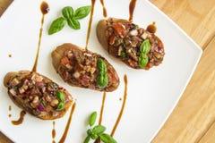 Bruschetta z pomidorem i basilem Zdjęcie Royalty Free