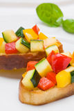 Bruschetta from zucchini and bell peppers Stock Images