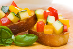 Bruschetta from zucchini and bell peppers Royalty Free Stock Photography