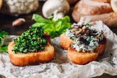 2 Bruschettas с зелеными цветами и соусом гриба Стоковые Фотографии RF