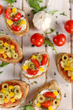 Bruschettas from above Royalty Free Stock Image