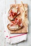 Bruschettas with cheese and ham Stock Image