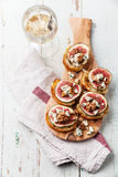 Bruschettas with figs, Blue cheese and walnuts Stock Photography