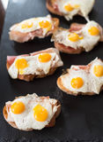 Kroc madam, bruschetta with fried Quail egg and jamon stock image