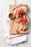 Bruschettas with ham Royalty Free Stock Images