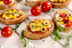 Bruschettas meal Royalty Free Stock Photo
