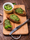Bruschettas with pesto Royalty Free Stock Photo