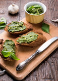 Bruschettas with pesto Stock Photo