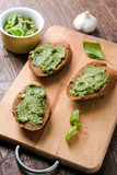 Bruschettas with pesto Royalty Free Stock Photos
