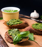 Bruschettas with pesto Stock Image