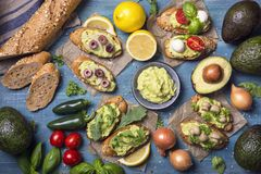 Bruschettas with bread and guacamole. Bruschettas with rye bread and guacamole royalty free stock image