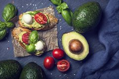 Bruschettas with rye bread and guacamole. Bruschettas with rye bread, guacamole,tomatoes and mozzarella stock photo