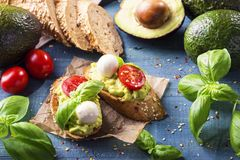 Bruschettas with rye bread and guacamole. Bruschettas with rye bread, guacamole,tomatoes and mozzarella royalty free stock image