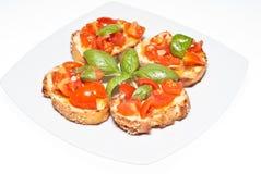 Bruschette,意大利开胃菜 库存图片