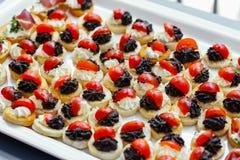 Bruschette avec la diffusion d'olive, le fromage fondu et les tomates photographie stock libre de droits