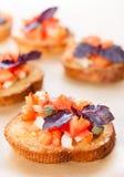 Bruschette avec les tomates et le basilic photos stock