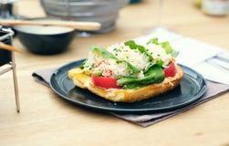 Bruschette de crabe dans le restaurant Photo libre de droits