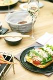 Bruschette de crabe dans le restaurant Images stock