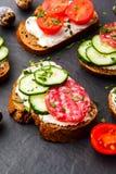 Bruschette faite maison Mini sandwichs Tapas espagnols traditionnels images libres de droits