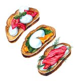 Bruschette italienne d'aquarelle illustration libre de droits