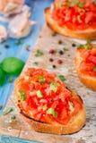 Bruschette italienne de tomate avec le basilic Images libres de droits