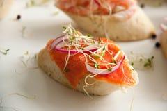 Bruschettes avec les fruits de mer et l'oignon Photo libre de droits