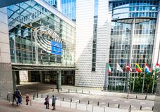 BRUSELAS, BÉLGICA - 16 de junio de 2016: Exterior del edificio de Fotos de archivo