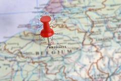 Bruselas, Bélgica en un mapa Imagen de archivo libre de regalías