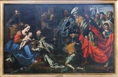 Bruselas - pintura de la adoración de tres unos de los reyes magos Fotos de archivo libres de regalías