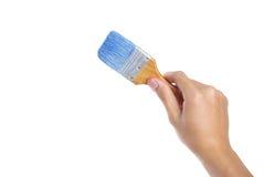 Brush. Hand and brush ,Isolated on white background Stock Photo