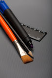 Paintbrush, Pencil, Marker and Ruler Royalty Free Stock Images