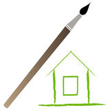 Brush. Paint brush and home on isolated background Royalty Free Stock Images