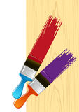 Brush. And red and violet paint stroke Royalty Free Stock Images