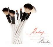 Brush. Makeup brush set in a glass beaker isolated on white background Royalty Free Stock Photo