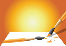 Brush. A Paint brush draw the illustration of another brush Royalty Free Stock Photo
