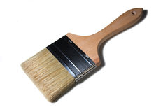 Brush. Big wooden painting brush isolated Royalty Free Stock Photo
