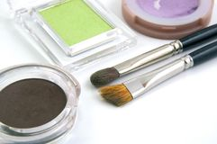 Brush. Es and Eye Shadows for Make Up Stock Images