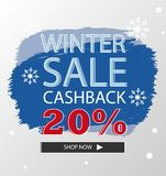 Brush Abstract Banner Winter Sale Discount Ads. Modern Brush Abstract Banner for Winter Sale Discount Ads which easy to edit and print Royalty Free Stock Photo