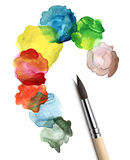 Brush and abstract circle watercolor painting Royalty Free Stock Photos
