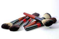 Brush accessories for eyelashes face makeover, Makeup brushes set Royalty Free Stock Image