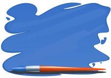 Brush And Brushstrokes Of Blue Paint Stock Photo