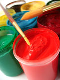 Brush And Many Paint Jars Royalty Free Stock Images