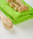 Brush And Massager With Cotton Towel Royalty Free Stock Images